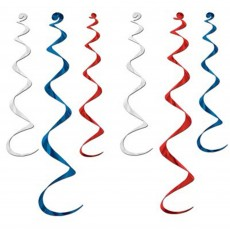Red, White & Blue USA Whirl Hanging Decorations Pack of 6