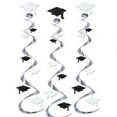 Graduation Black & White Graduate Caps Whirls Hanging Decorations