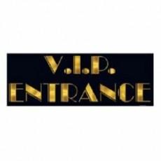 Black & Gold Hollywood Awards Night Sign V.I.P. Entrance Hanging Decoration 20cm x 55cm