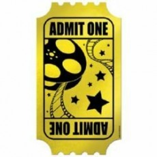 Hollywood Gold Admit One Golden Ticket Favour