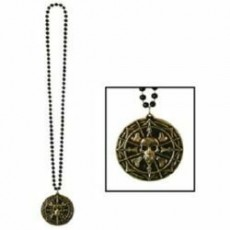 Pirate Coin Beaded Medallion Necklace Costume Accessorie