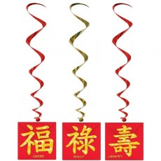 Chinese New Year Asian Design Whirl Hanging Decorations 100cm Pack of 3