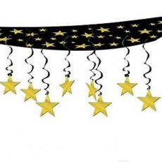 Black & Gold New Year The Stars Are Out Ceiling Hanging Decoration 30cm x 3.65m