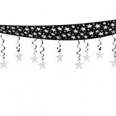 New Year Black & Silver The Stars Are Out Ceiling Hanging Decoration