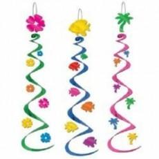 Hawaiian Luau Whirls Hanging Decorations