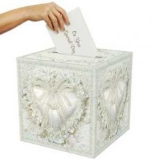 Wedding White Receiving Card Box with Deluxe Hearts Pattern Misc Accessorie