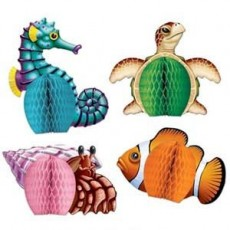 Hawaiian Luau Mini Sea Creatures Honeycomb Centrepieces