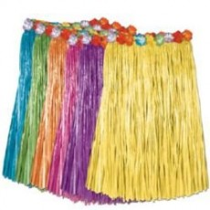 Hawaiian Assorted Colours Artificial Grass Hula Skirt & Flowers Adult Costume