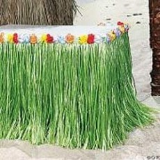 Hawaiian Luau Green Artificial Grass & Flowers Table Skirt