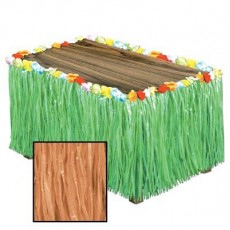 Hawaiian Luau Natural Artificial Grass & Flowers Table Skirt