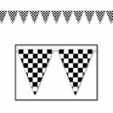 Check Black & White ered Plastic Pennant Banner