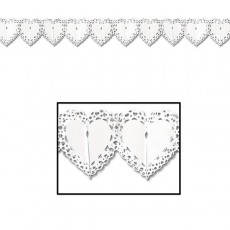 White Love Lace Hearts Shaped Garland
