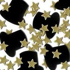 New Year Black Top Hats & Gold Stars Confetti