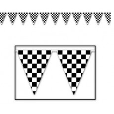 Check Black & White ered Giant Plastic Pennant Banner
