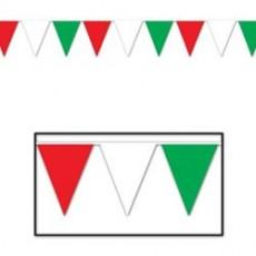 Multi Colour Red, White & Green Flag Pennant Banner