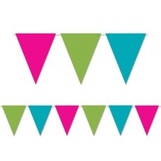 Multi Colour Cerise, Lime Green & Turquoise Flag Pennant Banner