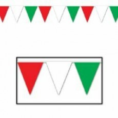 Multi Colour Red, White & Green Flag Pennant Banner