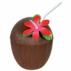 Hawaiian Luau Coconut Shaped Cup with Cover, Flower & Straw Misc Cup