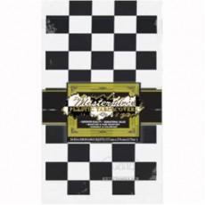 Black & White Checkered Plastic Table Cover 137cm x 274cm