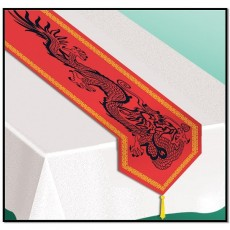 Chinese New Year Red Asian Dragon Table Runner