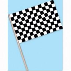 Black & White Checkered Plastic Flag 10cm x 15cm