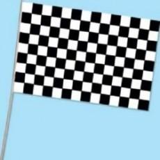 Black & White Checkered Plastic Flag 28cm x 43cm