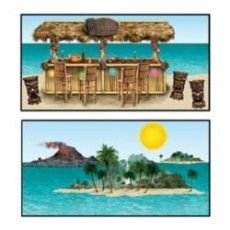 Hawaiian Luau Tiki Bar & Island Insta-Theme Props Wall Decorations