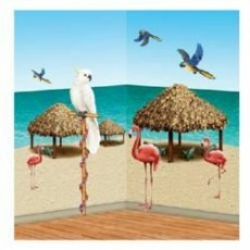 Hawaiian Luau Tiki Hut & Tropical Birds Insta-Theme Props Wall Decorations