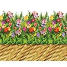 Hawaiian Luau Bamboo Walkway & Tropical Flowers Backdrop Border Insta-Theme Scene Setter
