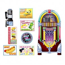 Rock n Roll 50's Soda Shop Signs & Jukebox Wall Decorations 28cm to 152cm Pack of 8
