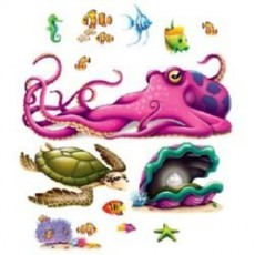 Hawaiian Luau Sea Creature Insta-Theme Props Wall Decorations