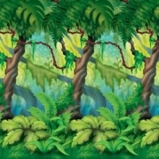 Jungle Buddies Party Decorations - Scene Setter Jungle Trees Backdrop