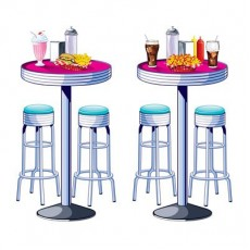 Rock n Roll 50's Soda Shop Tables & Stools Wall Decorations 160cm x 71cm Pack of 2