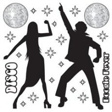Disco & 70's Disco Silhouettes Prop Wall Decorations 7cm - 1.6m Pack of 22