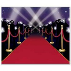 Hollywood Red Carpet & Stanchions Backdrop Scene Setter