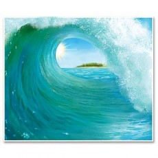 Hawaiian Luau Summer Luau Surf Wave Backdrop Insta-Theme Scene Setter