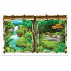 Jungle Buddies Party Decorations - Scene Setter Window View Backdrop