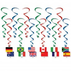 International Flags Whirls Hanging Decorations