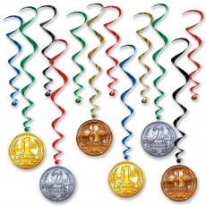 Sports Award Medal Whirls Hanging Decorations Pack of 12