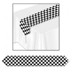 Black & White Checkered Paper Table Runner 28cm x 183cm