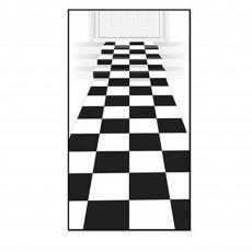 Check Black & White Floor Runner Misc Decoration