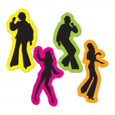 Disco & 70's Retro Male & Female Silhouette Cutouts