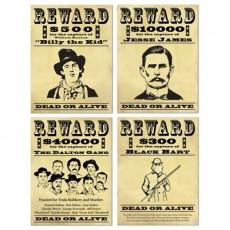 Cowboy & Western Wanted / Reward Signs Cutouts 39cm x 29cm Pack of 4