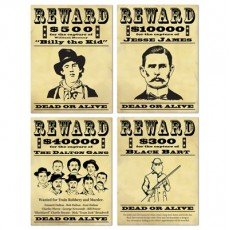 Cowboy & Western Wanted / Reward Signs Cutouts