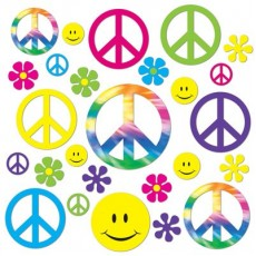 Feeling Groovy & 60's Retro 60s Peace & Smiley Faces Cutouts Pack of 42