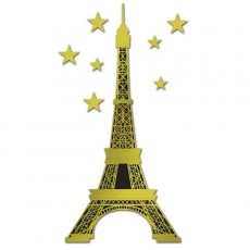 Gold & Black Party in Paris Eiffel Tower Jointed Cutout