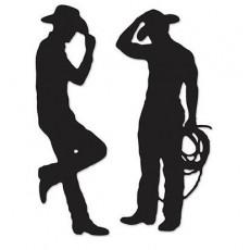 Cowboy & Western Black Western Cowboys Silhouettes Cutouts