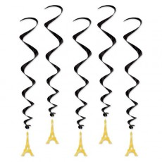 Party in Paris Eiffel Tower Whirls Hanging Decorations 86cm Pack of 5