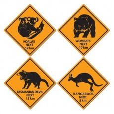 Australia Day Outback Road Signs Cutouts