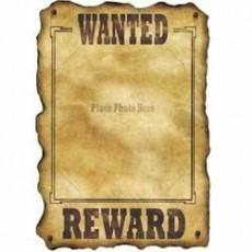 Cowboy & Western Wanted / Reward Sign Cutout 43cm x 30cm